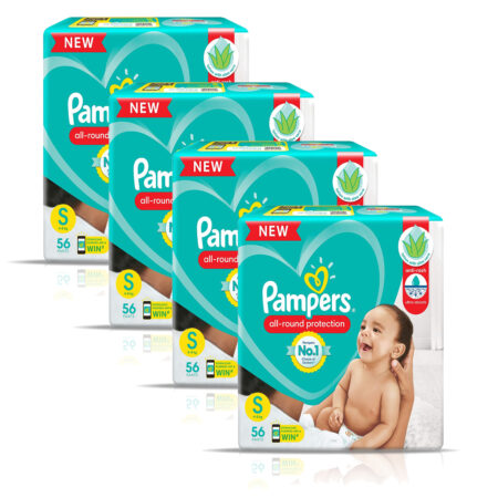 Pampers All round Protection Pants, Small size baby diapers (S) 224 Count