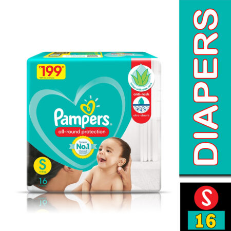 Pampers All round Protection Pants, Small size baby diapers (S) 16 Count