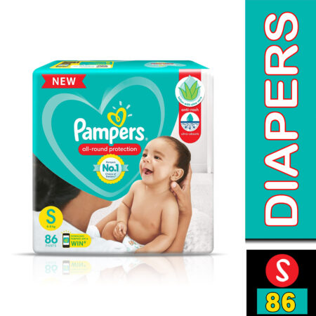 Pampers All round Protection Pants, Small size baby diapers (S) 86 Count