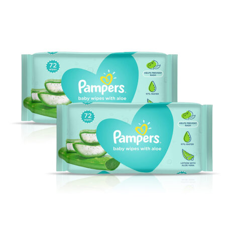 Pampers Baby Gentle Wet Wipes with Aloe Vera, 72 Wipes (Pack of 2)