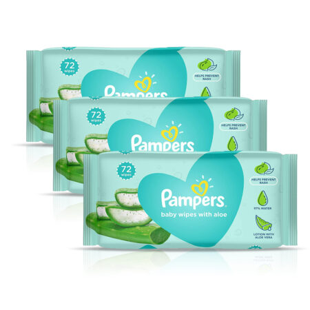 Pampers Baby Gentle Wet Wipes with Aloe Vera, 72 Wipes (Pack of 3)