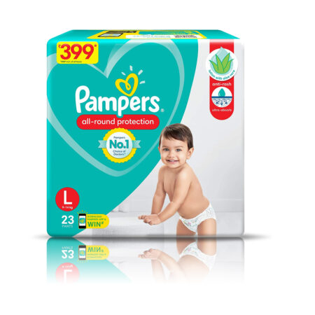 Pampers All round Protection Pants, Large size baby diapers (L) 23 Count