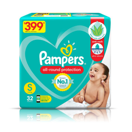 Pampers All round Protection Pants, Small size baby diapers (S) 32 Count