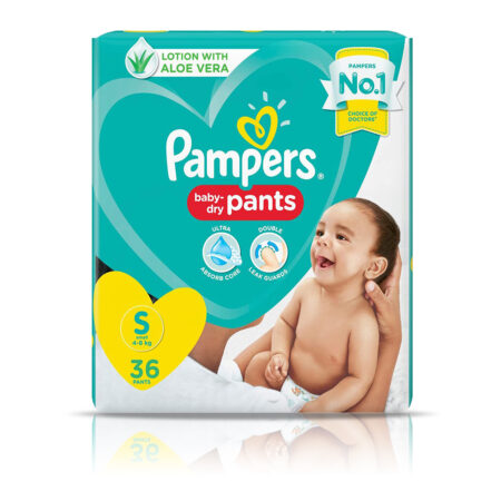 Pampers All round Protection Pants, Small size baby diapers (S) 36 Count