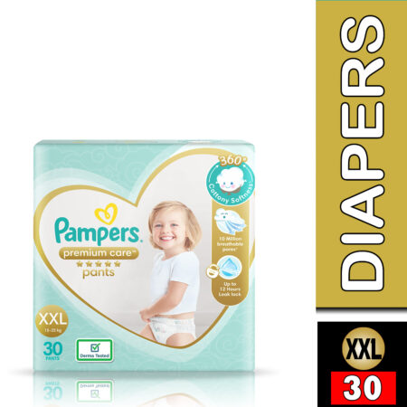 Pampers Premium Care Pants, Double Extra Large size baby diapers (XXL), 30 Count, Softest ever Pampe