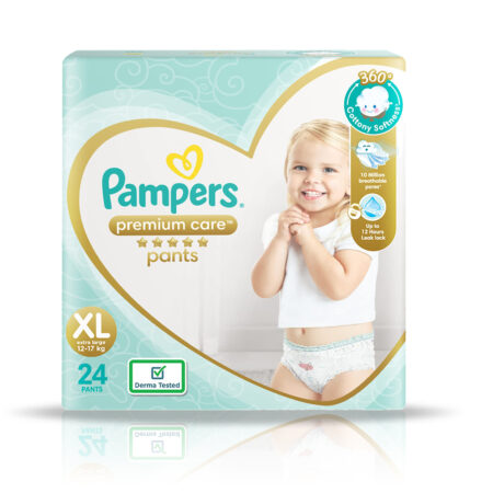 Pampers Premium Care Pants, Extra Large size baby diapers (XL), 24 Count, Softest ever Pampers pants