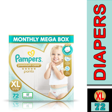 Pampers Premium Care Pants, Extra Large size baby diapers (XL), 72 Count, Softest ever Pampers pants