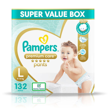 Pampers Premium Care Pants, Large size baby diapers (L), 132 Count, Softest ever Pampers pants