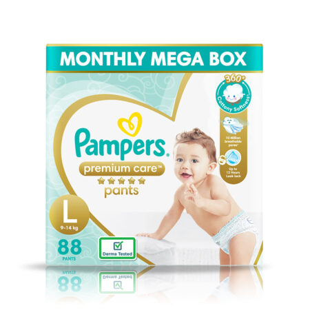 Pampers Premium Care Pants, Large size baby diapers (L), 88 Count, Softest ever Pampers pants
