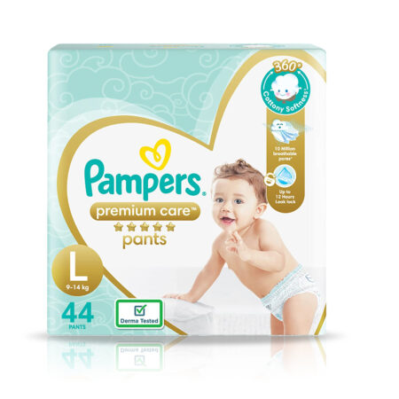 Pampers Premium Care Pants, Large size baby diapers (L), 44 Count, Softest ever Pampers pants