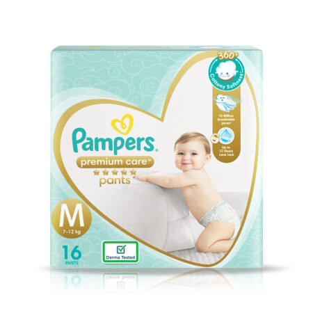 Pampers Premium Care Pants, Medium size baby diapers (M), 16 Count, Softest ever Pampers pants