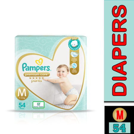 Pampers Premium Care Pants, Medium size baby diapers (M), 54 Count, Softest ever Pampers pants