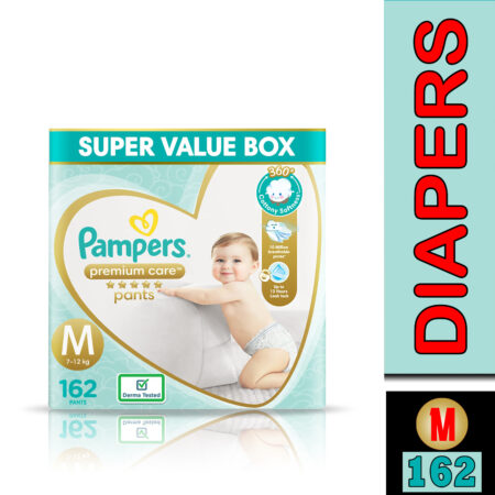 Pampers Premium Care Pants, Medium size baby diapers (M), 162 Count, Softest ever Pampers pants