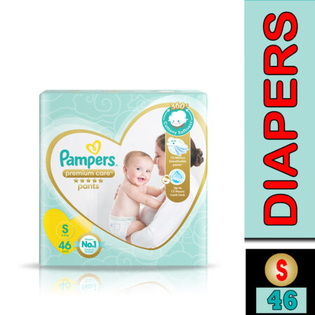 Pampers Premium Care Pants, Small size baby diapers (S), 46 Count, Softest ever Pampers pants
