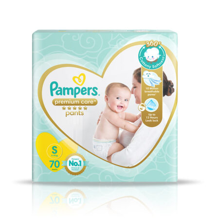 Pampers Premium Care Pants, Small size baby diapers (S), 70 Count, Softest ever Pampers pants