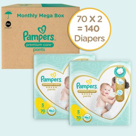 Pampers Premium Care Pants, Small size baby diapers (S), 140 Count, Softest ever Pampers pants