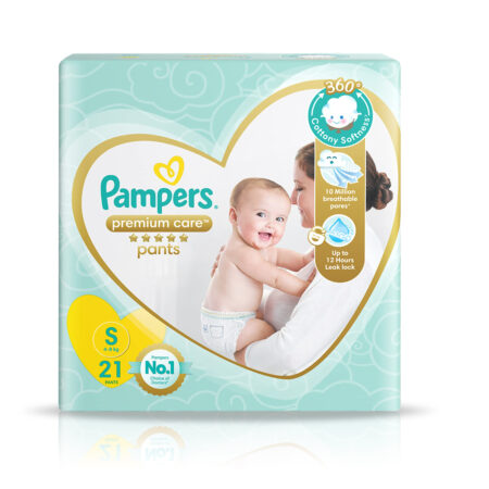 Pampers Premium Care Pants, Small size baby diapers (S), 21 Count, Softest ever Pampers pants