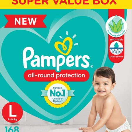 Pampers All round Protection Pants, Large size baby diapers (L) 168 Count