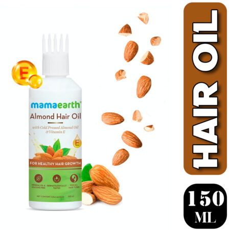 Mamaearth Almond Hair Oil with Cold Pressed Almond Oil & Vitamin E for Healthy Hair Growth, 150
