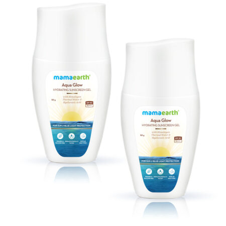 Mamaearth Himalayan Thermal Water and Hyaluronic Acid Sunscreen Gel, 50g (Pack of 2)