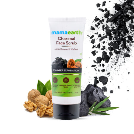 Charcoal Face Scrub For Oily Skin and Normal skin, with Charcoal and Walnut for Deep Exfoliation - 100g