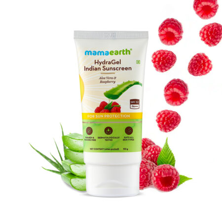 HydraGel Indian Sunscreen with Aloe Vera and Raspberry for Sun Protection - 50 g