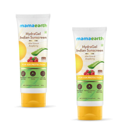 Mamaearth HydraGel Indian Sunscreen with Aloe Vera and Raspberry for Sun Protection, 50g (Pack of 2)
