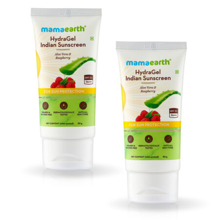 HydraGel Indian Sunscreen with Aloe Vera and Raspberry for Sun Protection,50 g (Pack of 2)