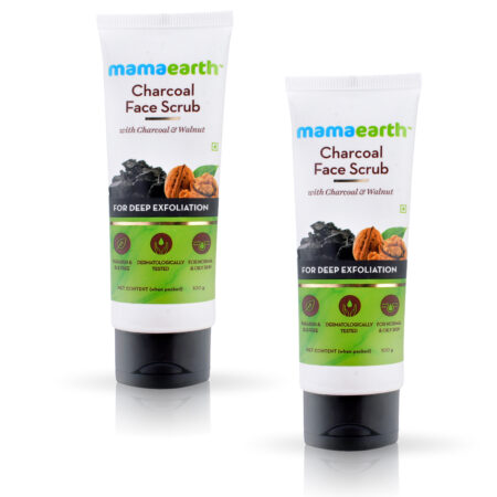 Mamaearth Charcoal Face Scrub For Oily Skin and Normal skin, with Charcoal and Walnut for Deep Exfoliation, 100g (Pack of 2)