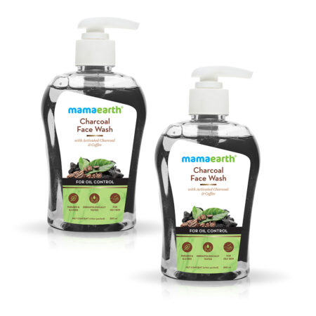 Mamaearth Charcoal Face Wash with Activated Charcoal and Coffee for Oil Control 250ml (Pack of 2)