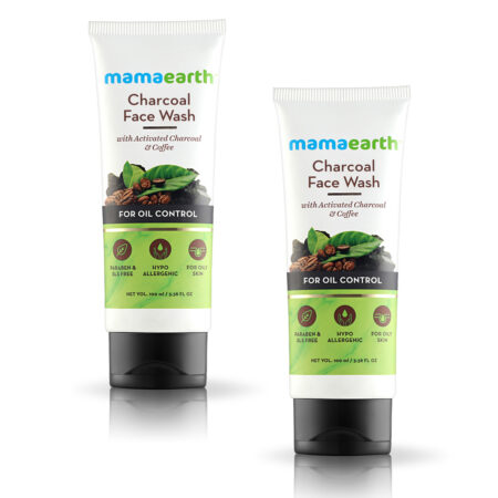 Mamaearth Charcoal Facewash for oil control, 100 ml Pack of 2