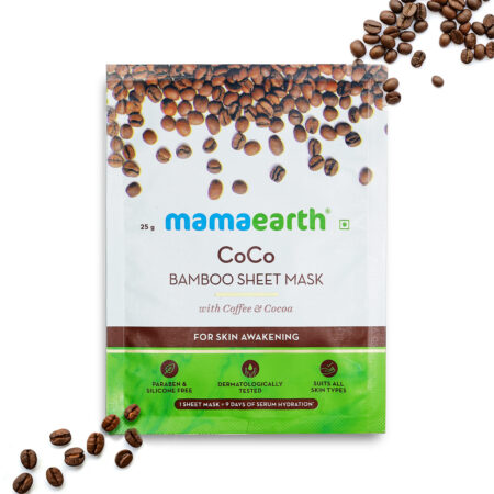 Mamaearth CoCo Bamboo Sheet Mask with Coffee and Cocoa for Skin Awakening, 25g