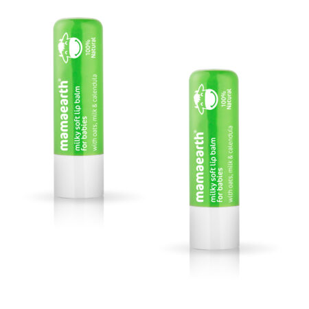 Mamaearth Milky Soft Natural Lip Balm for Babies with Oats, Milk & Calendula, 4g (Pack of 2)