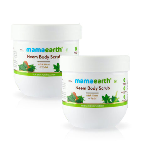 Mamaearth Neem Body Scrub with Neem and Tulsi for Skin Purification, 200g (Pack of 2)