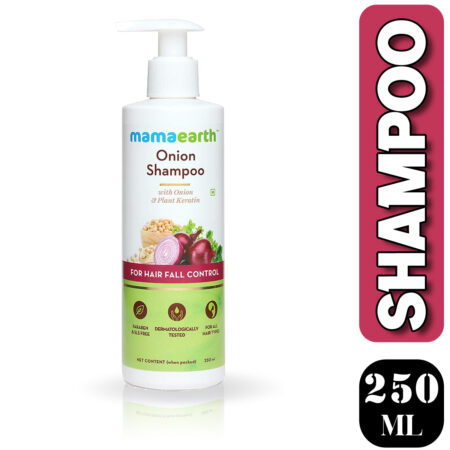 Mamaearth Onion Shampoo with Onion and Plant Keratin for Hair Fall Control, 250ml