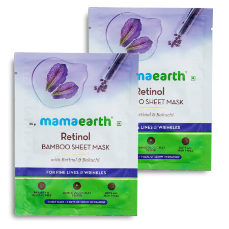 Mamaearth Retinol Bamboo Sheet Mask with Retinol and Bakuchi for Fine Lines and Wrinkles, 25g (Pack of 2)
