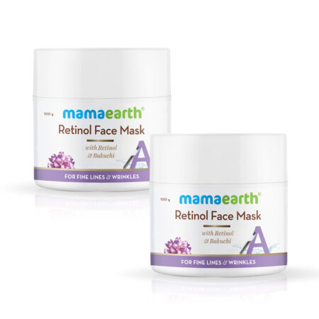 Mamaearth Retinol Face Mask with Retinol and Bakuchi for Fine Lines & Wrinkles, 100 g (Pack of 2)