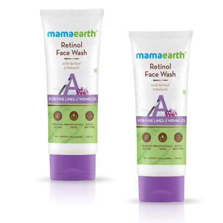 Mamaearth Retinol Face Wash with Retinol and Bakuchi for Fine Lines and Wrinkles, (100ml) Pack of 2