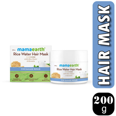 Mamaearth Rice Water Hair Mask with Rice Water and Keratin For Smoothening Hair and Damage Repair, 2