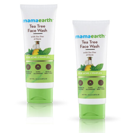 Mamaearth Tea Tree Facewash for acne and pimples, 100 Pack of 2