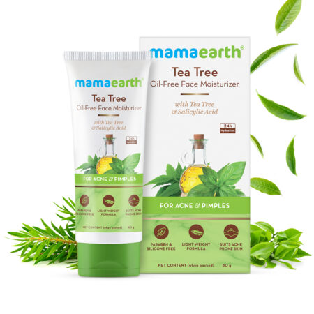 Mamaearth Tea Tree Oil-Free Face Moisturizer with Tea Tree and Salicylic Acid for Acne and Pimples, 80ml