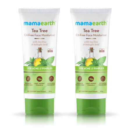 Mamaearth Tea Tree Oil-Free Face Moisturizer with Tea Tree and Salicylic Acid for Acne and Pimples (Pack of 2)
