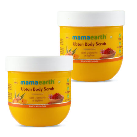 Mamaearth Ubtan Body Scrub with Turmeric and Saffron for Tan Removal, 200g (Pack of 2)