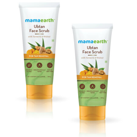 Mamaearth Ubtan Face Scrub with Turmeric and Walnut for Tan Removal (100g) Pack of 2