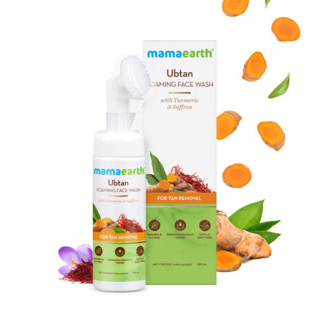Mamaearth Ubtan Foaming Face Wash with Turmeric and Saffron for Tan Removal, 150ml