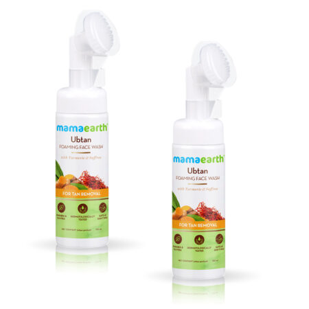 Mamaearth Ubtan Foaming Face Wash with Turmeric and Saffron for Tan Removal, (150ml) Pack of 2
