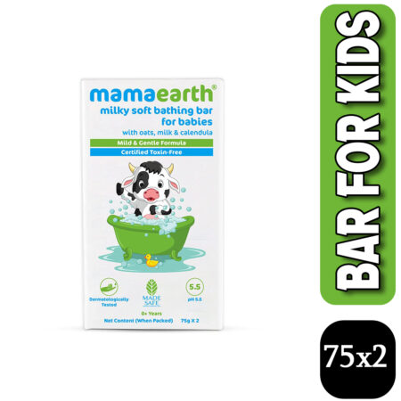 Mamaearth Milky Soft Bathing Bar for Babies with Oats, Milk and Calendula, 75g x 2