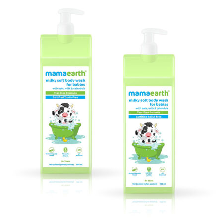 Mamaearth Milky Soft Body Wash for Babies with Oats, Milk and Calendula, 400ml (Pack of 2)