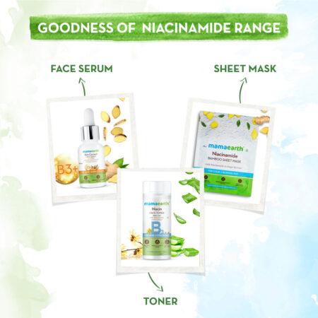 Niacinamide Bamboo Sheet Mask with Niacinamide and Ginger Extract for Clear and Glowing Skin - 25 g