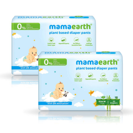 Mamaearth Plant-Based Diaper Pants for Babies – 7-12 kg (Size M – 30 Diapers) Pack of 2